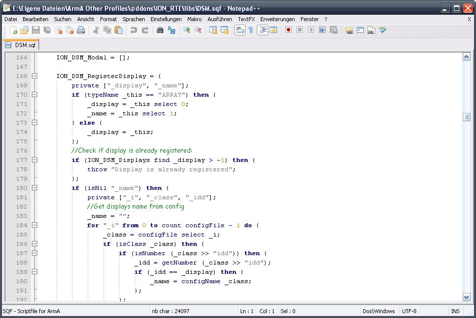 ArmAScript - A plugin for Notepad++